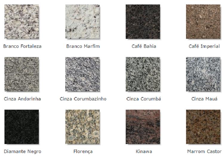 Tipos de granito latest tipos de granito para usar na for Tipos de granitos