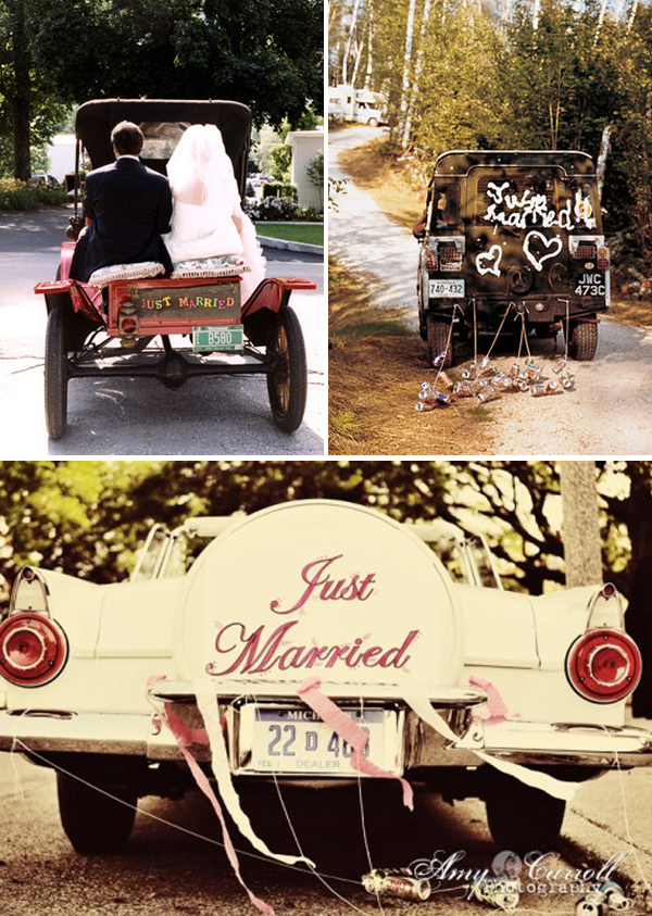 Vintage wedding car decorated with flowers luxury lifestyle design architecture blog by - Just married decorations for car ...