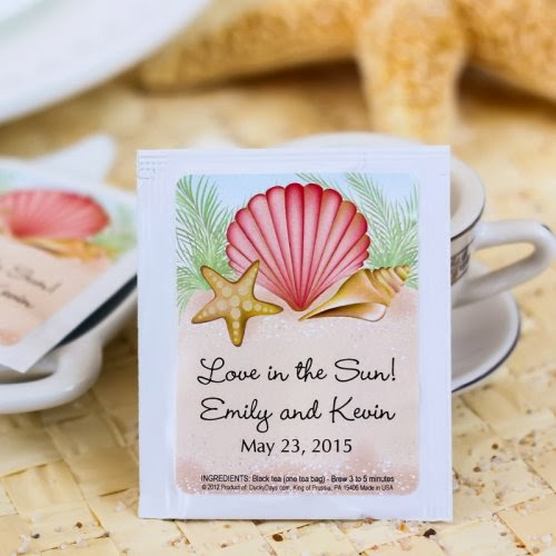 beach theme tea bag favors