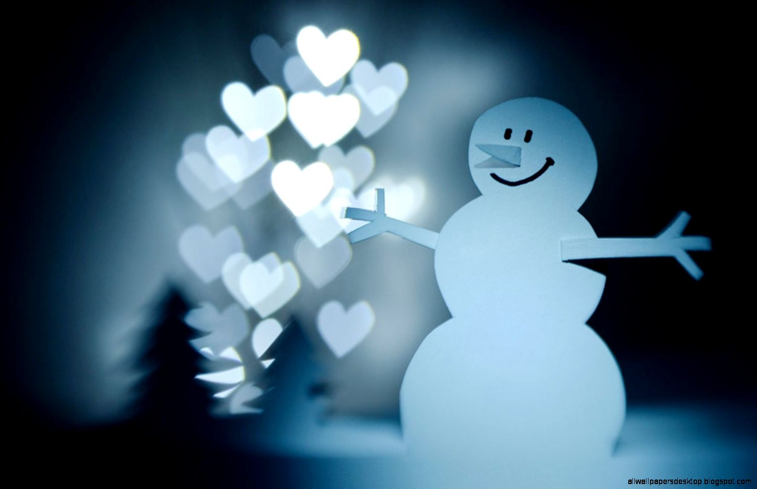 Paper Snowman Hearts Lights Christmas Trees Hd wallpaper by