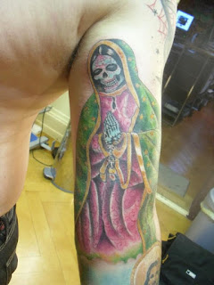 coloured Santa Muerte tattoo