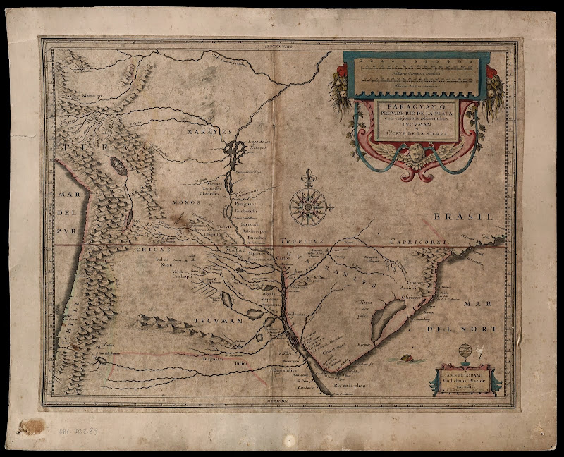 Historical map of central South America. The Laguna de los Xarayes is  title=
