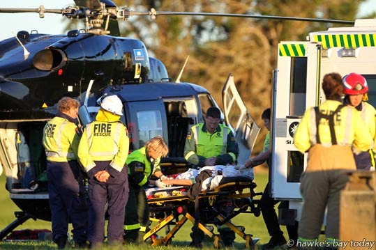 Two people were transported to Hawke's Bay Hospital, Hastings, on the Lowe Corporation Rescue Helicopter, after a two car collision on the corner of Hatuma Rd and Ngahape Rd, with Arlington Rd and Woburn Rd, a rural area south of Waipukurau. Police, St John Ambulance and the fire service attended. One of the vehicles, sign-written New Zealand Post, travelled about 200m over farmland, crashing through three farm fences before getting stuck in a depression. photograph