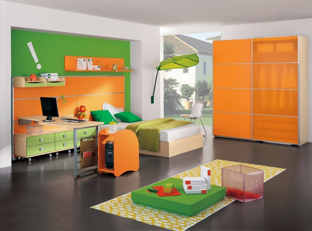 Kids Bedroom Design Orange and Green Color