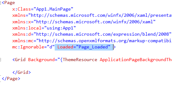 We write software adding a page load event in xaml for Window load event