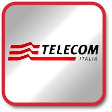fondo grigio con scritta telecom rossa