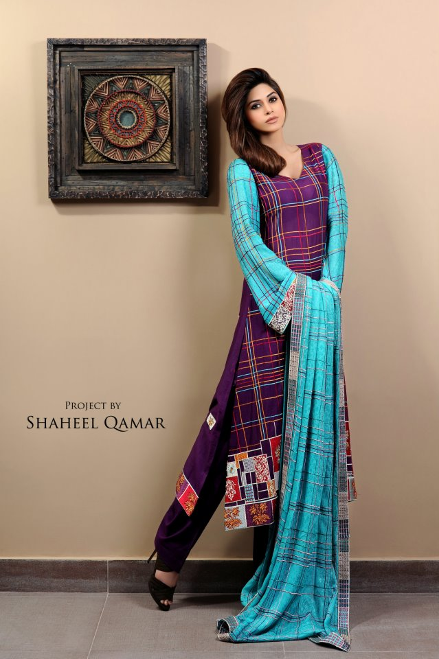 Shaista Wahidi Lawn Collection 2012 sky blue and purple