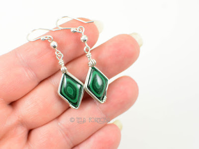 bulls eye malachite earrings