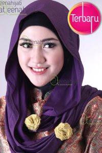Saqina Pashmina Glitter Mawar - Ungu Tua (Toko Jilbab dan Busana Muslimah Terbaru)