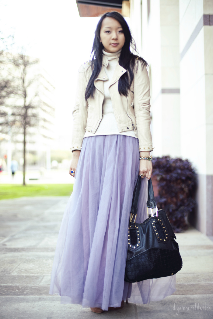 diy tulle tutu maxi skirt, house of harlow leather tote, dog and pony spiked leather jacket, victoria's secret turtleneck sweater, dolce vita suede pumps, austin street style, austin fashion blog, texas style blog, diya liu