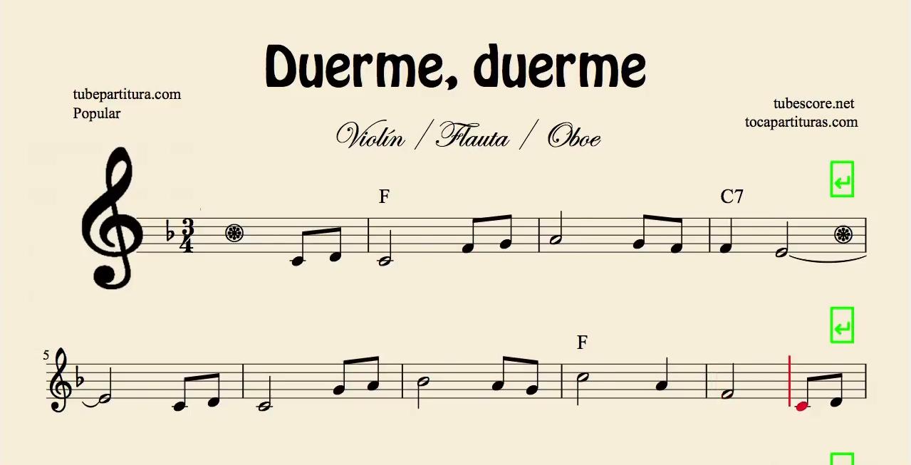 Duerme Duerme Partitura Popular de Flauta, Violín, Saxofón Alto, Trompeta, Viola, Oboe, Clarinete, Saxo Tenor, Soprano Sax, Trombón, Fliscorno, chelo, Fagot, Barítono, Bombardino, Trompa o corno, Tuba...