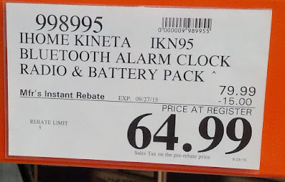 Deal for the iHome Kineta IKN95 Bluetooth Alarm Clock Radio & Battery Pack at Costco