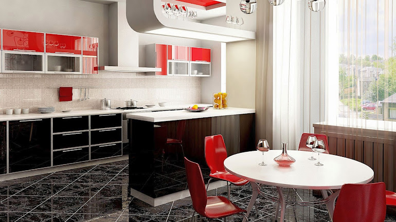 Interior The kitchen and dining room red and black