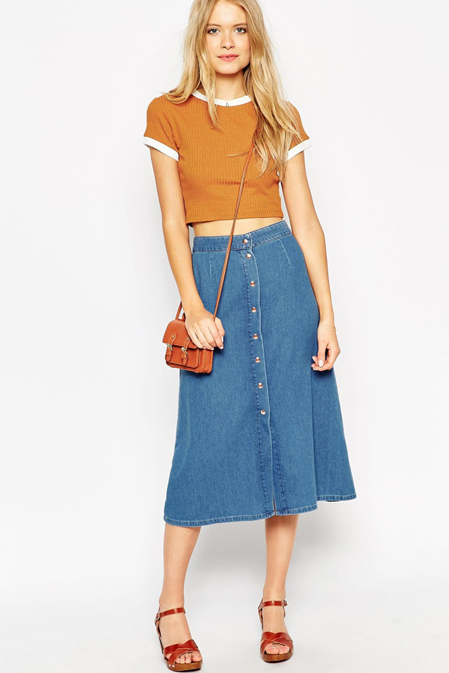 how to wear button through midi skirts