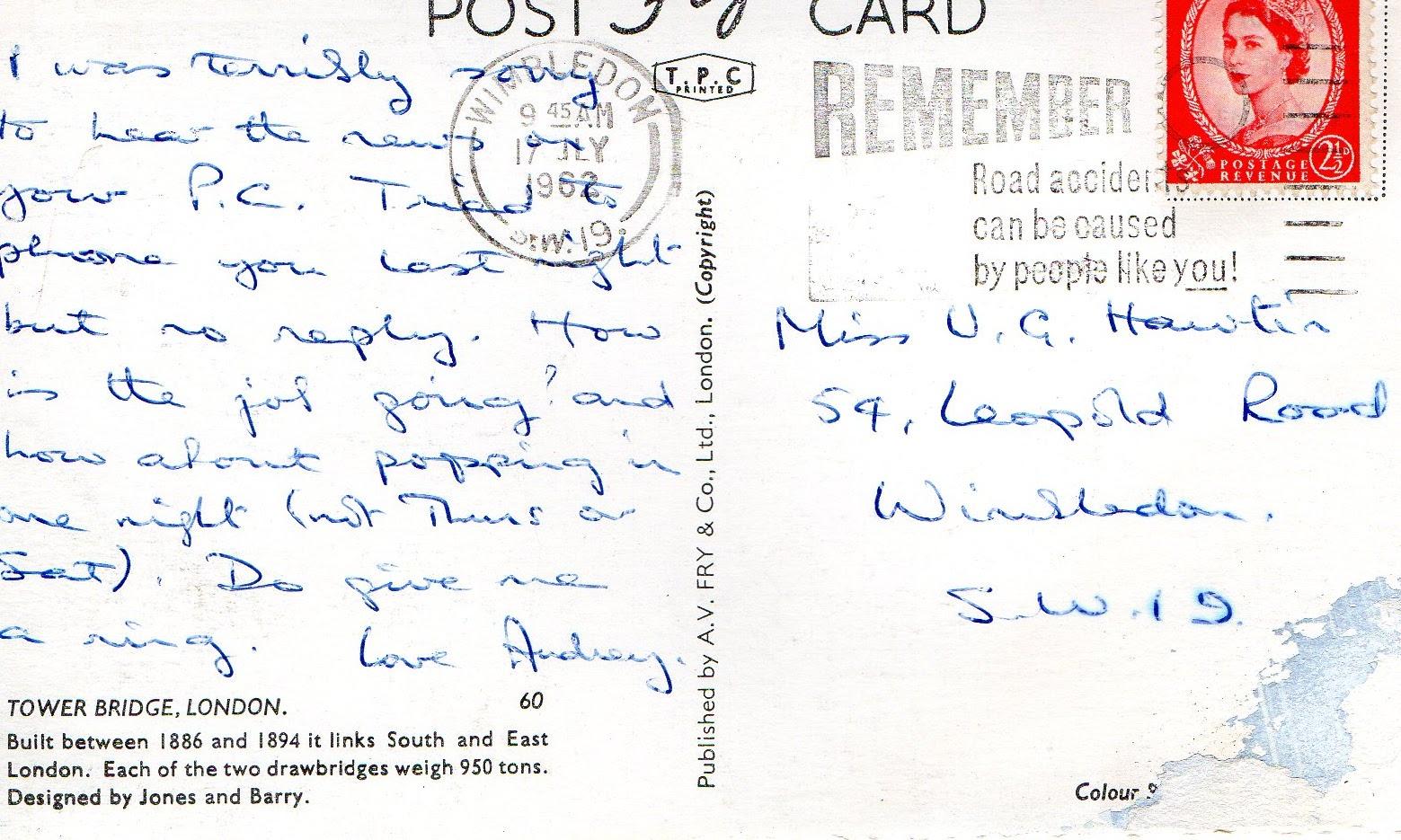 vintage, postcard, London,, handwriting, postmark, stamp, 1962, Wimbledon, Tower Bridge,