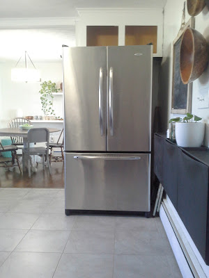 Ikea Trones in the kitchen for recycling stainless steel refrigerator