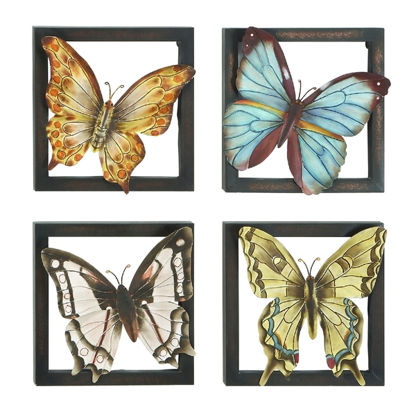 Metal Butterfly Wall Decors. Home Garden Collections Colored Metal ...