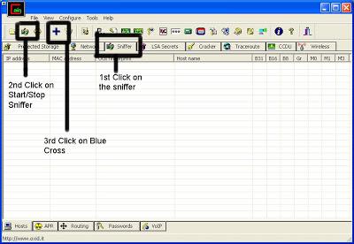 Klik tab Sniffer => Start / Stop Sniffer = > Klik Pada Tombol Biru ( + )