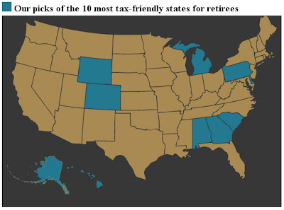 Click the image to examine the 10 states with the most favorable tax codes for retirees