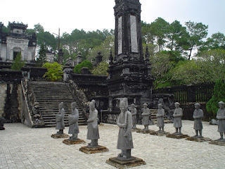 Statues in the courtyard of the tomb ceremonies Khai Dinh Hue Imperial