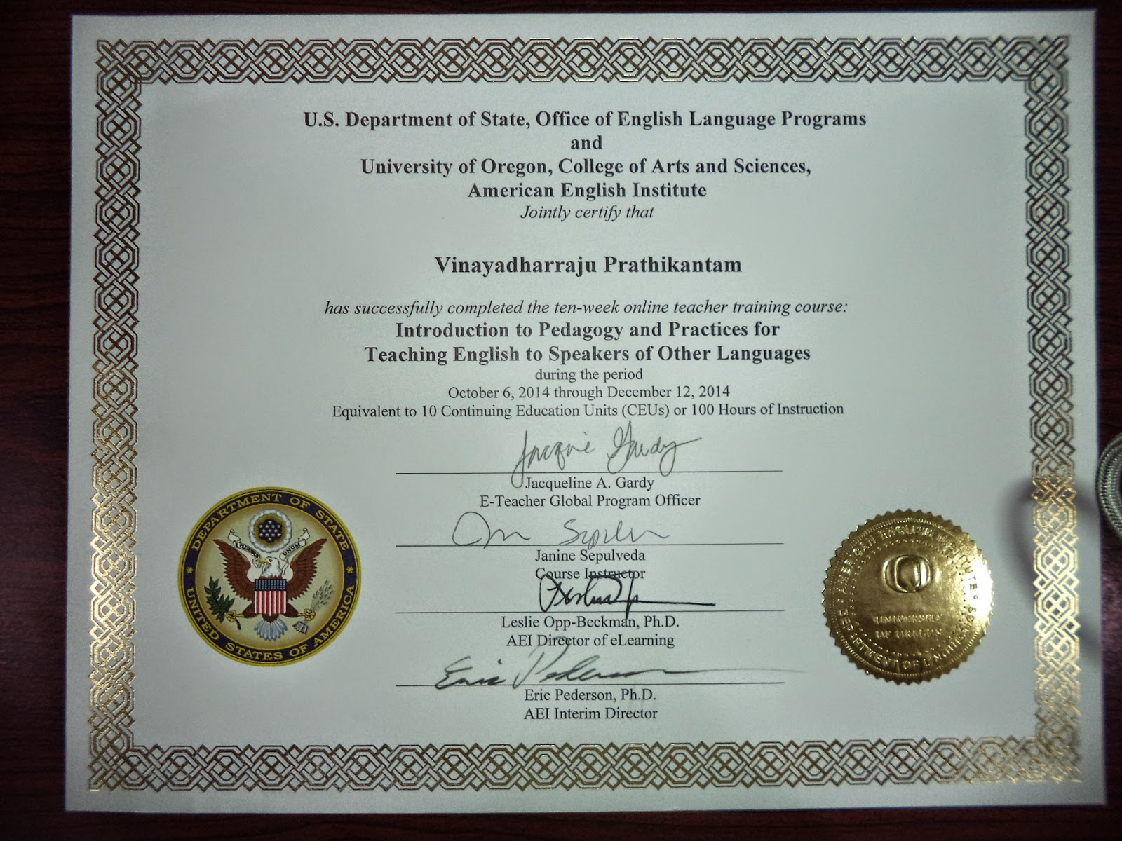 TESOL Certificate from Oregon State University