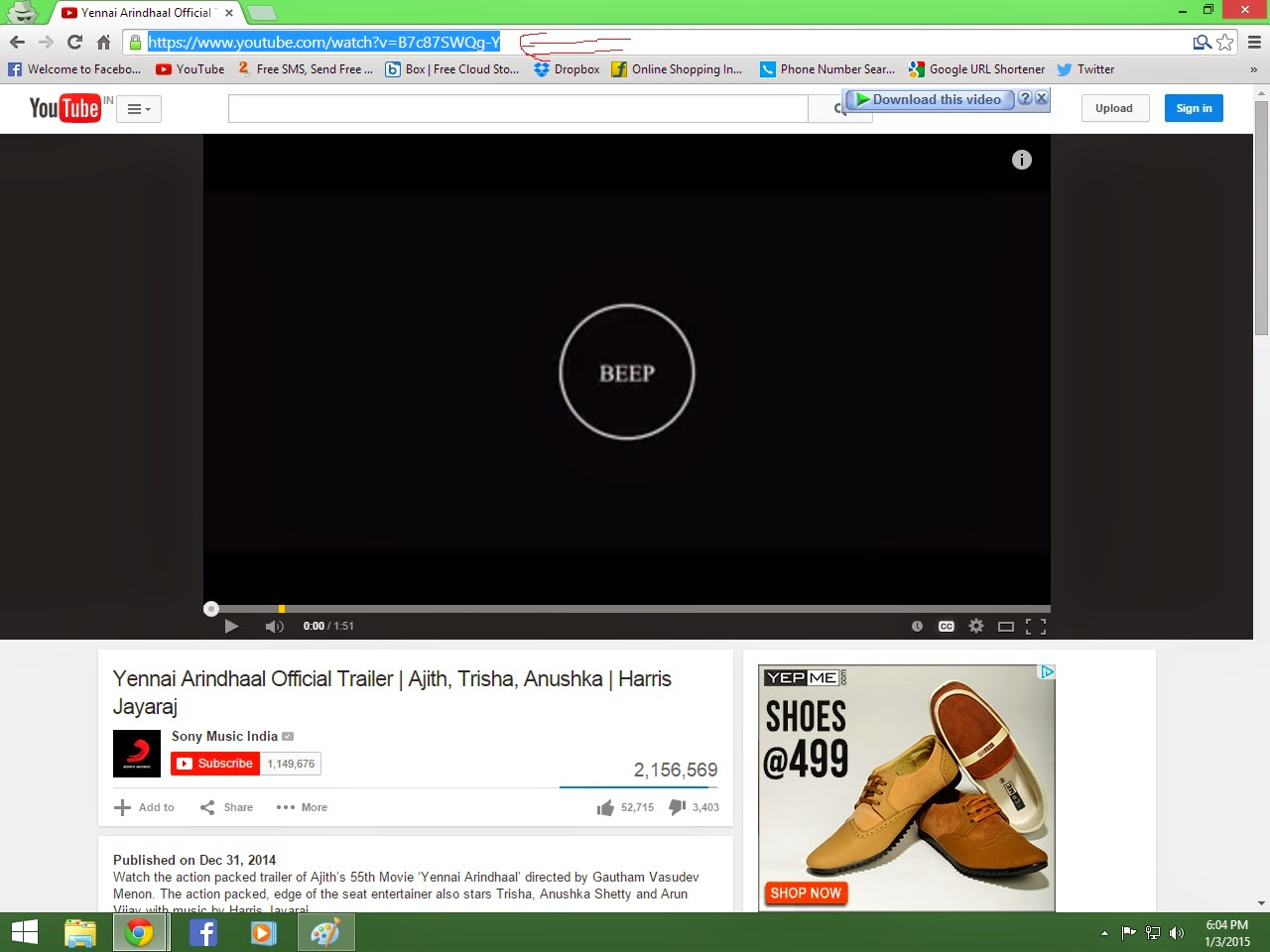 Download From The Youtube Navigate To The Url In The Address Bar Of  The Browsere Keyboard Shortcut Is F6