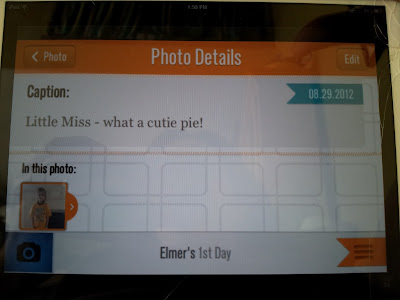 Photo of Little Miss with a caption for the 1st Day app