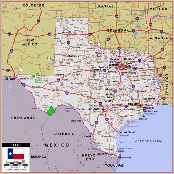 Texas County Map With Roads Afputracom - Texas political map