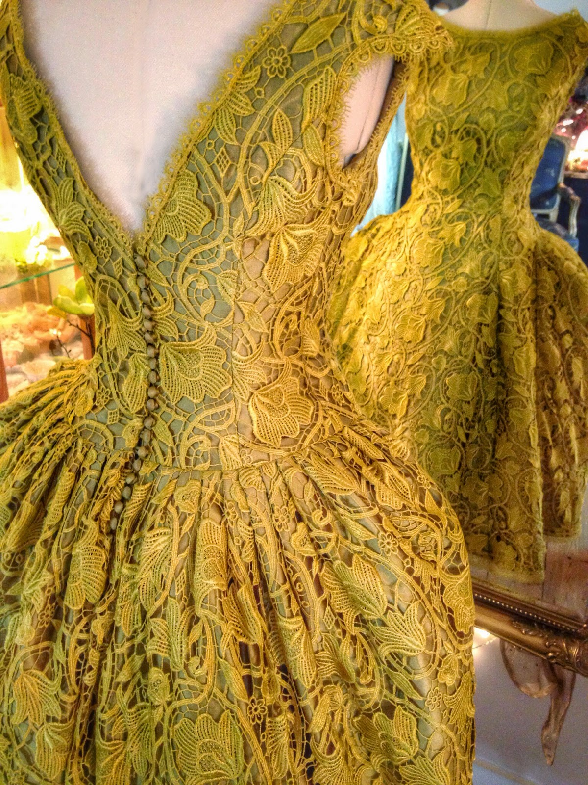 Joanne Fleming Design Chartreuse Art Nouveau Lace And Silk Tea Length Weddin