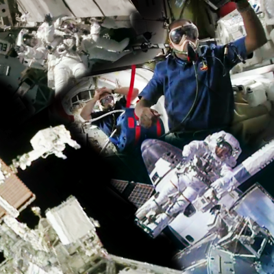 Shuttle Discovery's Mission STS-133: Collage based on Spacewalk preparations removing gases from the blood before isolation period, leading to spacewalk. Astronauts Bowen and Drew at ISS. NASA, 2011.