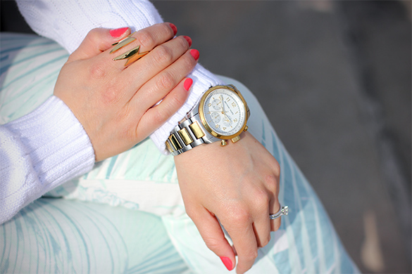 CC Skype super woman gold ring with Michael Kors silver & gold oversized watch