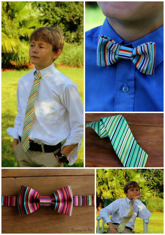 Because I'm Me striped bow and neck ties