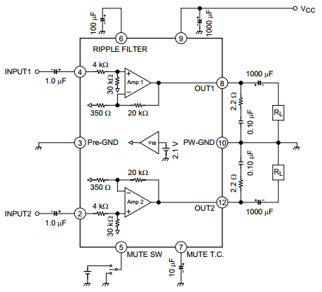Dual Audio Power Amplifier 6 W × 2 Ch