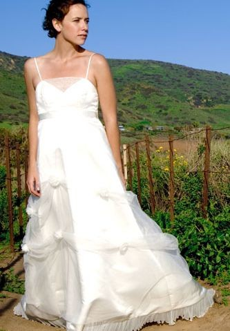 Organza and Taffeta Spaghetti Straps A-Line Long Maternity Wedding Dress