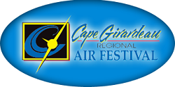 Light blue oval with yellow profile of an airplane and words of Cape Girardeau Regional Air Festival written in it