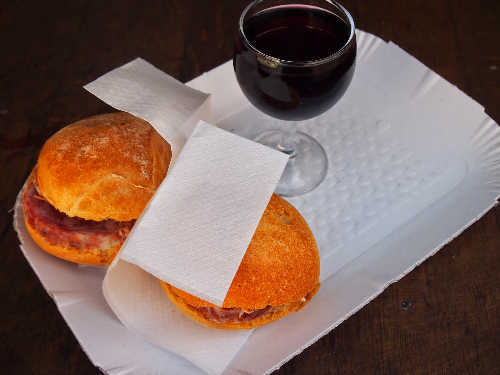 Sandwiches and wine in Venice, Italy