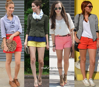 shorts coloridos moda verão 2012/2013