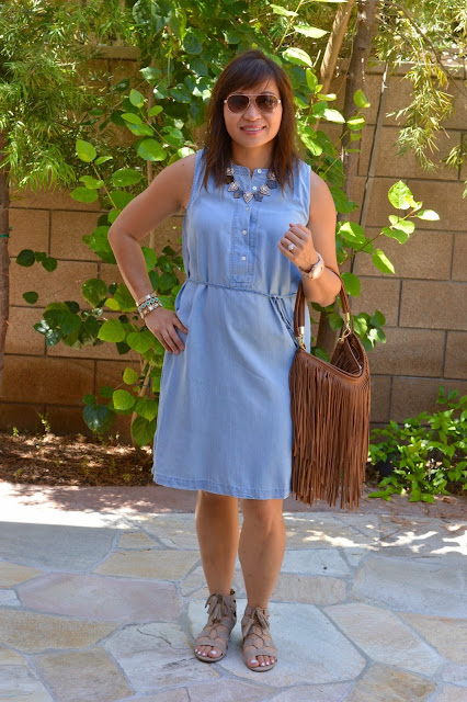 Loft chambray Dress, Sam Libby x Target Arianna Gladiator Sandals, Over 40 Fashion, OC Blogger, Weekend Style