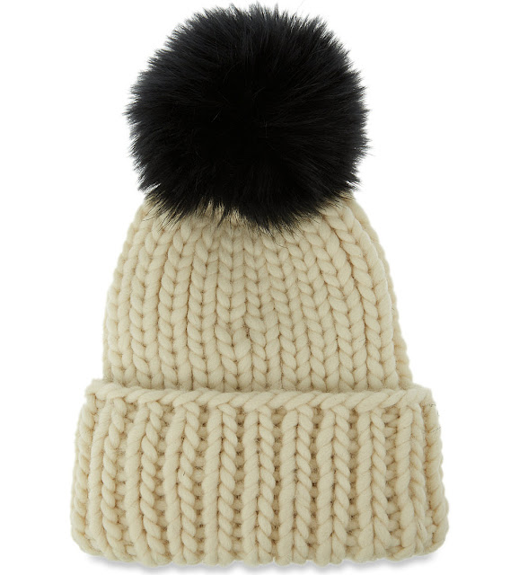eugenia kim cream beanie, eugenia kim black pom hat,