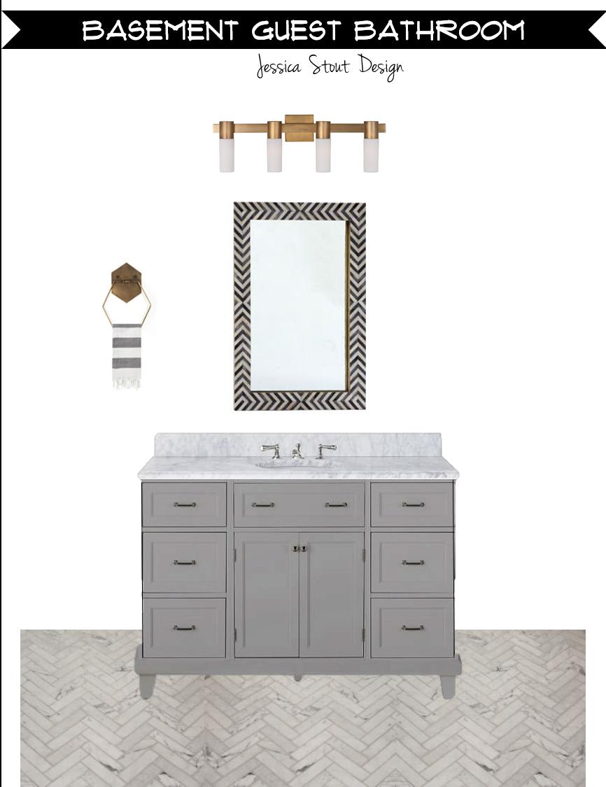 Jessica Stout Design Gray Gold Bathroom Design Board