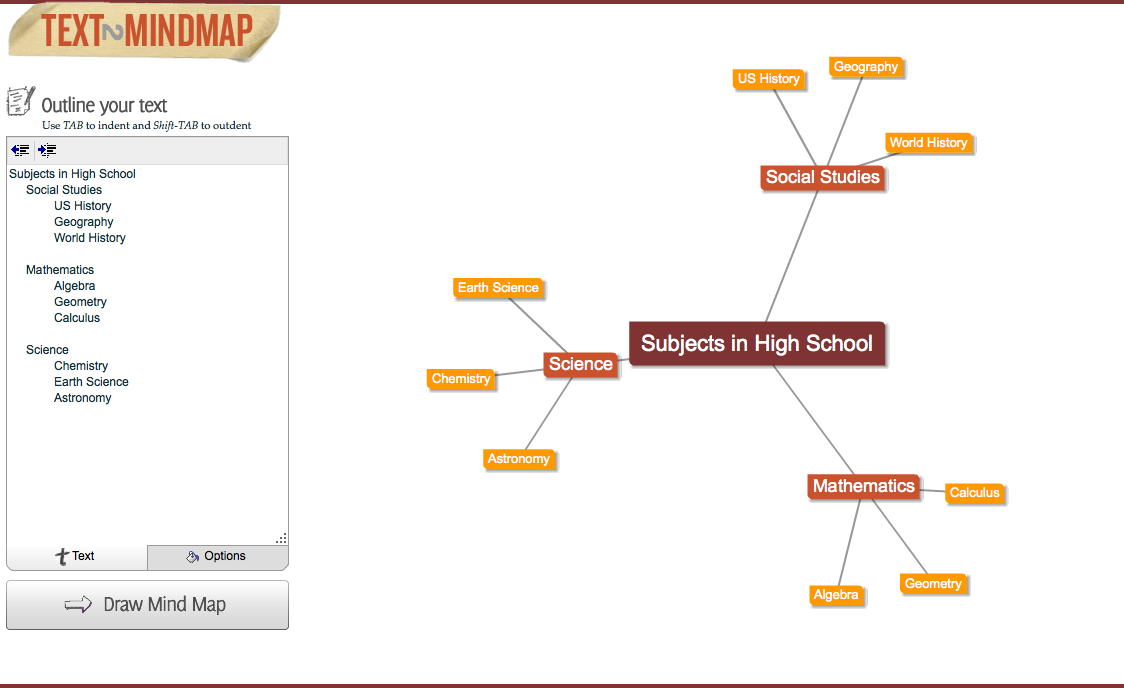 free technology for teachers text 2 mind map type to create a