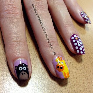 monkey giraffe nails