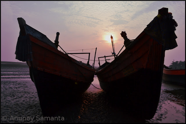 Resting Fishing Boats at sleepy Udaipur Beach