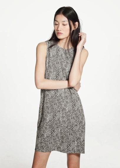 Mango 2015 Elbise Modelleri  desenli gri elbise, kolsuz model, yazlık ve günlük elbise modeli
