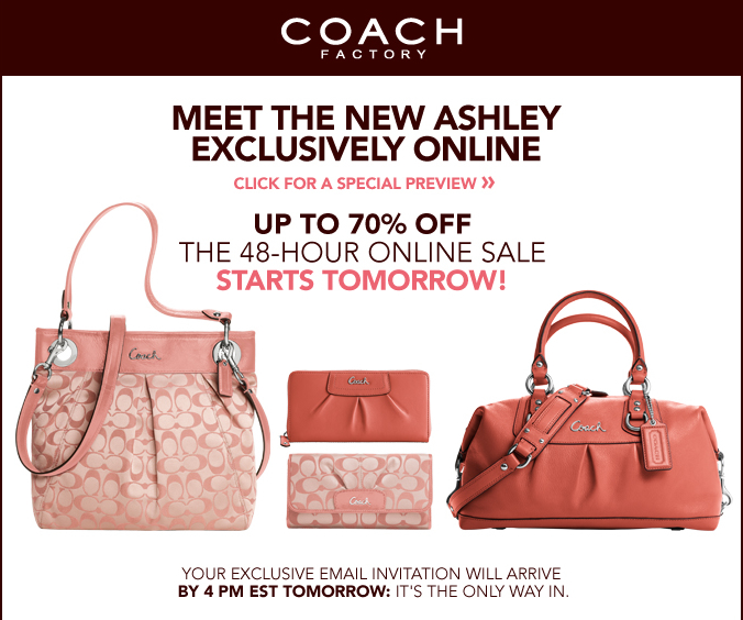 Coach factory outlet coupons december 2018