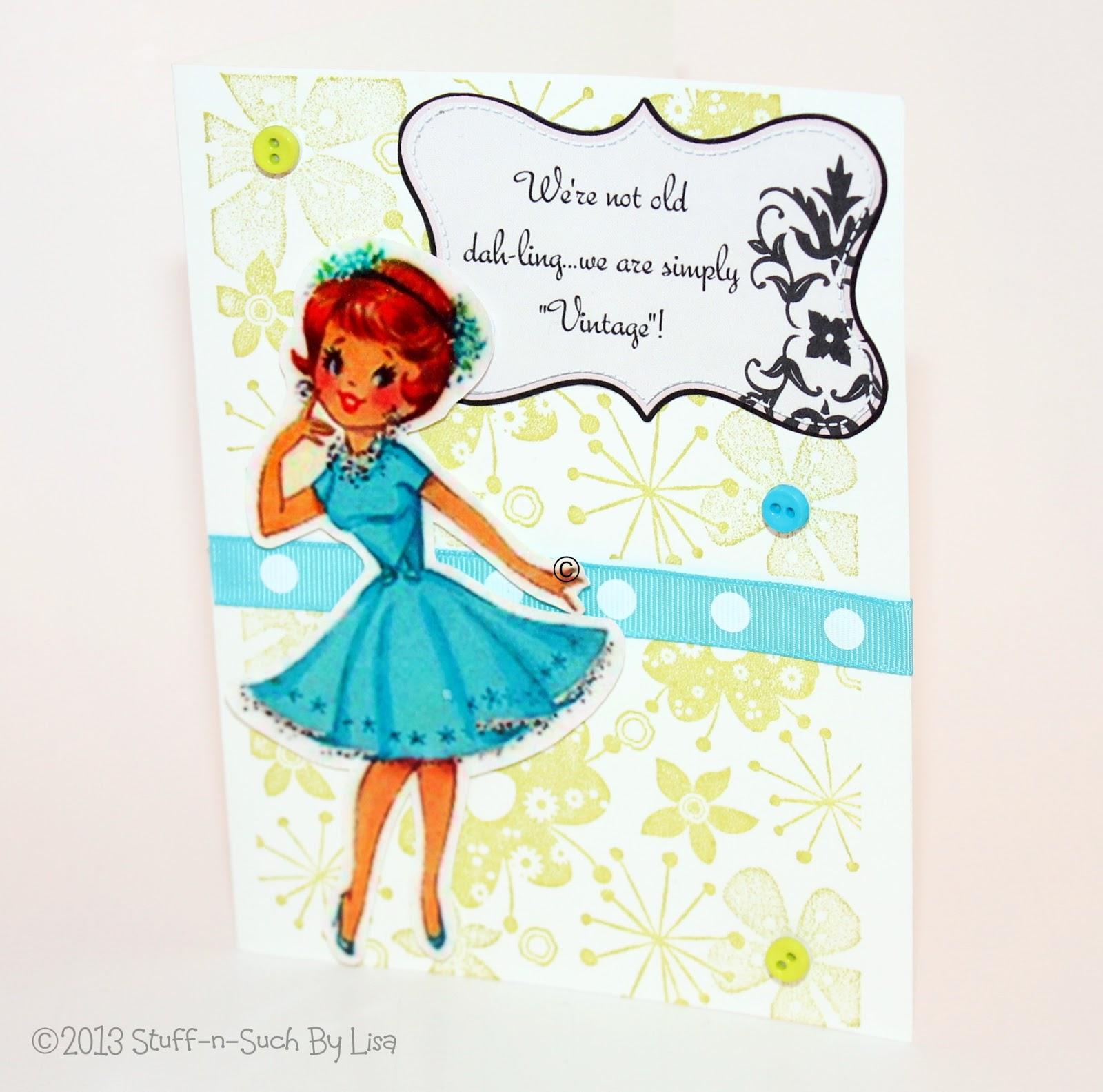 Stuff n Such By Lisa Vintage Lady Birthday Card
