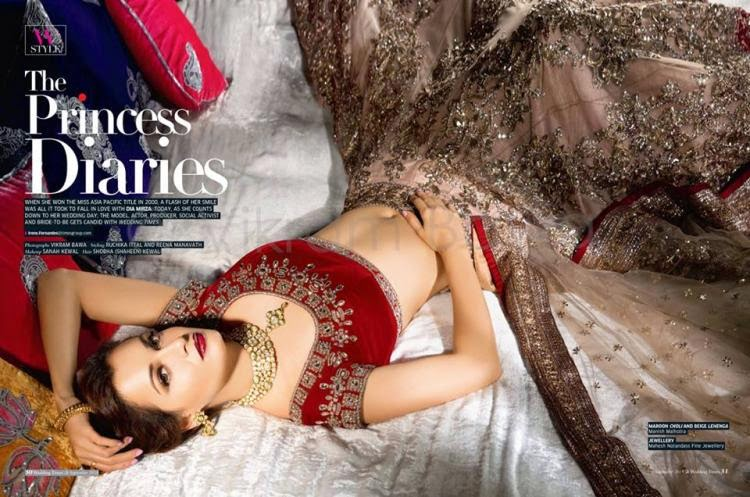 Dia Mirza On Cover of Wedding Times Magazine September Issue 2014