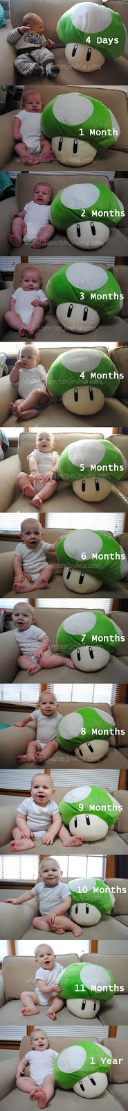 Monthly Baby Growth Photos - 1 Up, Nintendo, Super Mario Bros