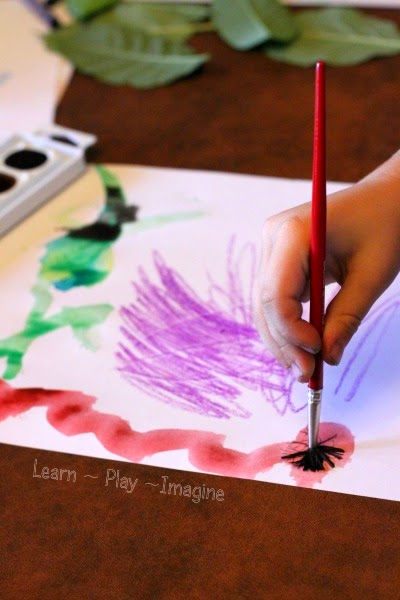Watercolor art on leaf rubbings