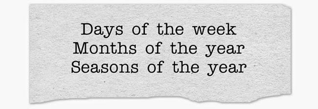 Ngày trong tuần, tháng và mùa trong năm bằng tiếng Anh